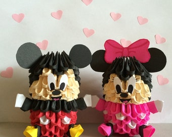 Adorable 3D Origami Mickey and Minnie ( Set of 2 )