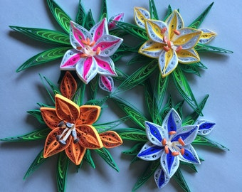 Colorful Lily Quilled Magnet