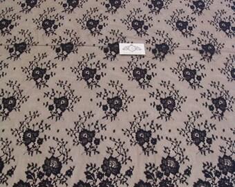 Black chantilly Lace fabric, Wedding lace, black chantilly lace fabric, flower pattern