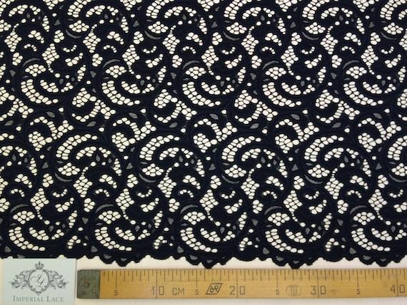 Black lace fabric - spanish style, black soft Alencon lace ...