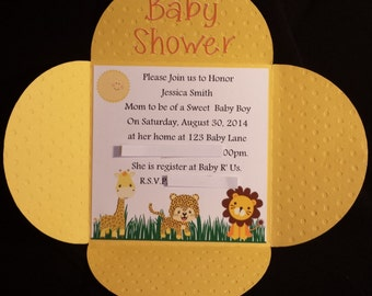 Safari Jungle Animal Baby Shower Invitations