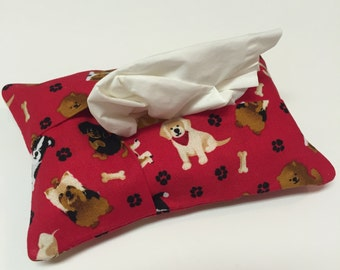 Dog Tissue Cover,Dog Tissue Holder,Tissue Cozy,Kleenex cover,Travel Size,Women's gift idea,Handmade,Coworker Gift Pet Lover Dog Lover,gift