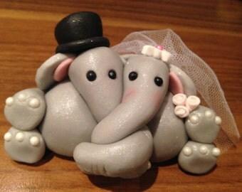 ELEPHANT BRIDE and groom WEDDING edible cake topper