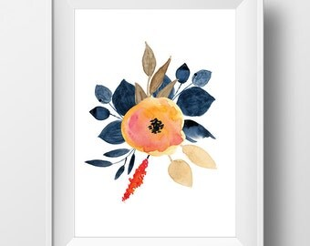 Floral Wall Art Printable, Floral Art Print, Watercolor Flower Print, Nursery Print, Shaby Chic, Navy , Flower Decor Print, Floral Decor