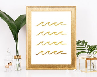 Gold Wave Print, Wave Art, Wave Prints, Nautical Print, Ocean Art, Summer Print, Sea Art, Downloadable Print, Printable Art, Beach Decor