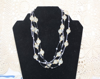 Vintage Black and White Beaded Necklace Four Strands