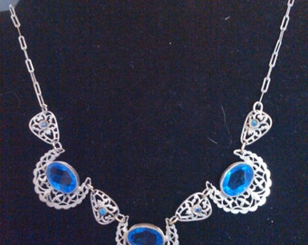 1930s blue glass and filigree necklace