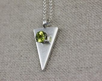 Green Topaz Golden Ratio Necklace Pendant Gemstone Sacred Geometry Triangle Geometric Handmade Jewelry