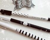 Black White pens, planner pens, stationery, black ink, spotty pen, striped pen