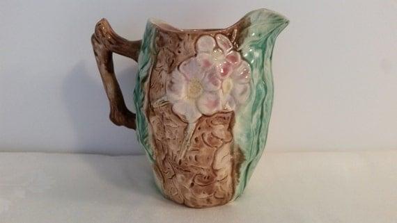Majolica Pitcher with Dogwood Flowers