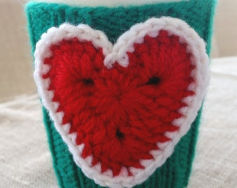 Christmas gift, Crochet green red white heart cup cozy, coffee cup cozy, mug cozy, cup cozy, coffee cup sleeve, gift ideas