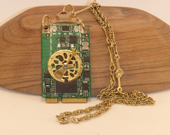 Circuit Board Steampunk Pendant Necklace. FREE SHIP in U.S.! Recycled Upcycled Computer, Watch & Clock Parts-Choker Chain and bag included