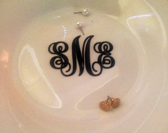 Monogrammed jewlery dish