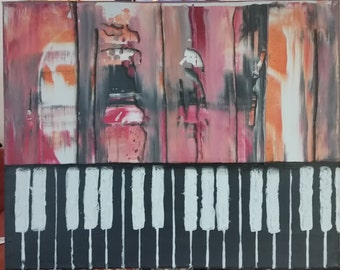 Acrylic Abstract Synthesizer Keyboard Painting