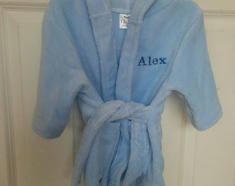 Personalised dressing gown blue