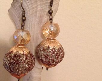 Sparkle gold beaded earrings