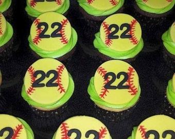 Fondant softball cupcake toppers