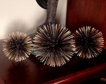 Set of 3 mid century modern C. Jere', Curtis Jere', Artisan House vintage black & bronze metal urchin starburst sculptures