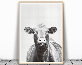 Black and White Animal Print, Cow Photography, Farm Print, Cow Print, Gray Photography, Animal Print Nursery, Art Print Download, Digital