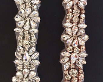 "Crystal Rhinestone Trim by the Yard-Wholesale rose gold Bridal Trim-rose gold rhinestone banding-1"" Crystal Trim -Rhinestone Applique TR51"