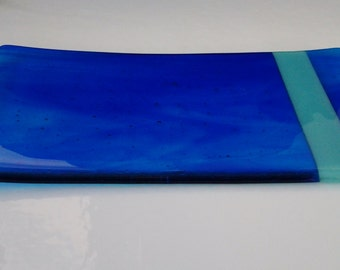 Fused Glass Plate in Blue