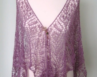 Handmade knitted laced light purple colour shawl with beads