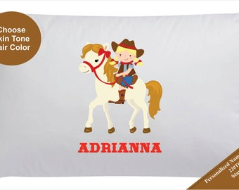 Personalized Cowgirl Pillow Case Pillowcase Girls Horse Pillowcase