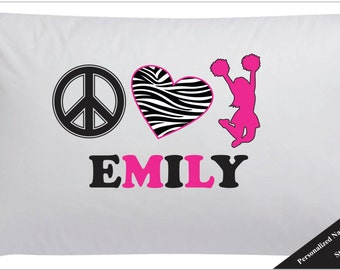 Personalized Peace Love Cheer Pillow Case Cheerleader Pillow Case
