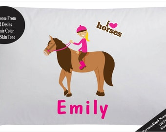 Personalized Horse Pillow Case Pillowcase Girls Horse Pillowcase
