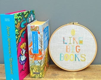 I Like Big Books. PDF Cross stitch chart / pattern - Instant download.