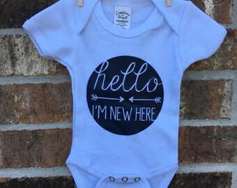 Hello I'm New Here newborn onesie; white and navy
