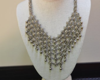 Chain maille bib necklace, chain mail necklace