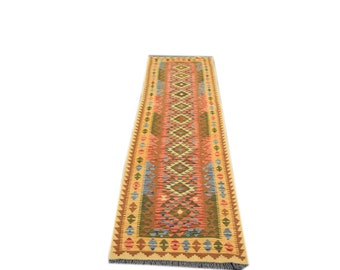 FREE SHIPPING    ....    Stunning Hand Woven Vintage Chobi Kilim Runner 100% Natural Wool