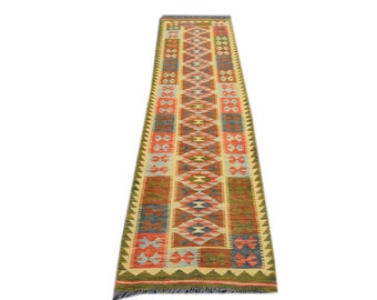 FREE SHIPPING    ....    Stunning Hand Woven Vintage Afghan Chobi Kilim Runner 100% Natural Wool