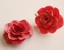 Set of 2 big handmade resin clay roses, for jewelry making, crafting, decoration / R37