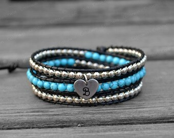 Customized Bracelet Initial Bracelet Leather Bracelet Wrap Bracelet Beaded Bracelet Personalized Leather Wrap Bracelet Christmas Gift