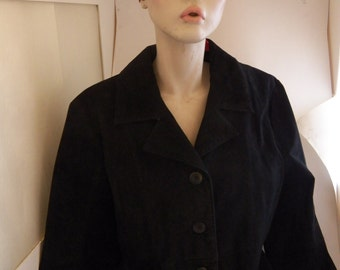 Sueded Leather Black 3- Button Jacket Size L Wilson Leathers Hip Length