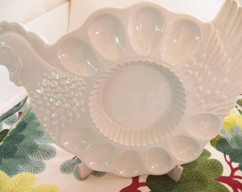 Vintage Ceramic Deviled Egg Tray Chicken Shaped White 10-Egg with Dip or Relish Compartment