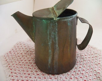 Vintage Rustic Primitive Coffee Pot, Pitcher Brass Handmade Patina Decorative