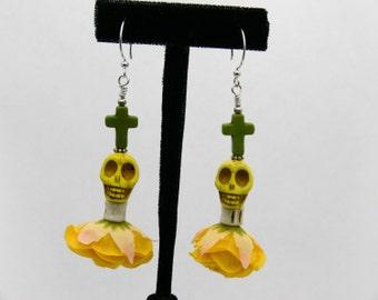 Day of the Dead Rose Skull Cross Earrings