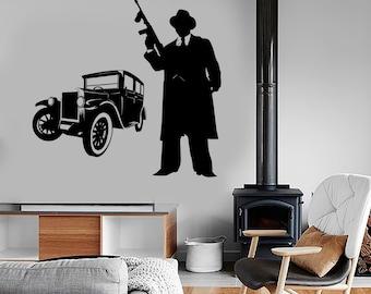 Wall Vinyl Decal Art Gangster Tommy Gun And Retro Car Amazing Decor 1320dz