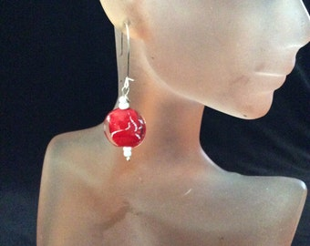 Vintage Clear-Red Glass Stone Dangle Earrings
