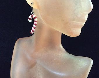 Vintage Christmas Candy Cane Pierced Dangle Earrings