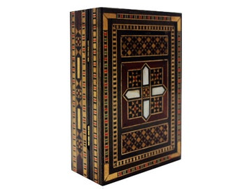 vintage Syrian Mosaic Box w wood & mother of pearl inlaid pieces