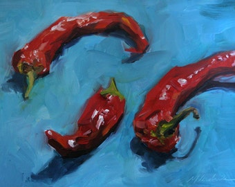 Original Painting, Oil, Peppers 6x6