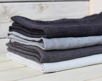 Linen bath / hand / face towels. Set of 4. Ash Grey/Graphite/Silver Grey/Charcoal. Hand made by LinenSky.