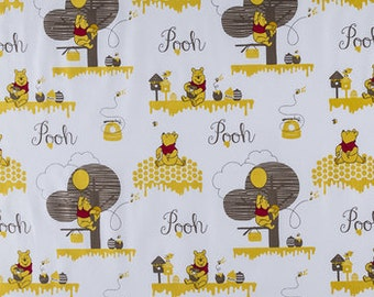 Winnie the Pooh Hunny Baby Blanket | Baby Quilt | Stroller Blanket | Ivory Minky Back