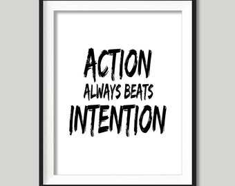 Typographic Print Art Motivational Poster ACTION Digital Download Typography Modern Art Inspirational Typographic Wall Art Black and White