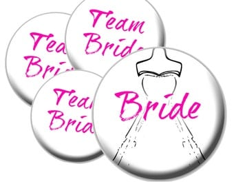 8 Team Bride Buttons - Pink Bridal Buttons - Black and White Bridal Buttons - Bachelorette Party Buttons