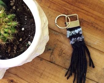 Hand woven mini keychain // black & grey
